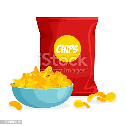 istock Package and plate of chips in trendy cartoon style. 1306889416