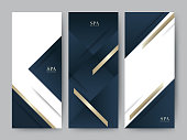 Branding Packageing luxury navy dark blue with gold texture background. For symbol vertical banner voucher, vector illustration