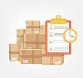 istock Package box with check list and clock in time.  Logistic fast online delivery concept web icon 853561716