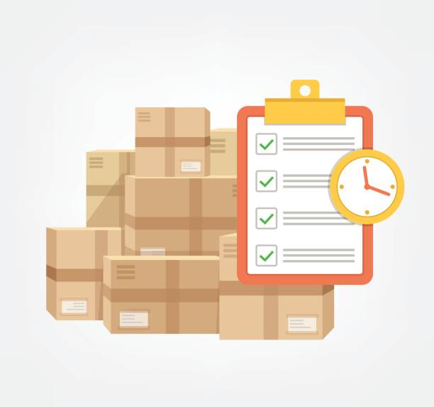 Package box with check list and clock in time.  Logistic fast online delivery concept web icon Package box with check list and clock in time.  Logistic fast online delivery concept web icon.  Vector flat cartoon illustration for sale stock illustrations