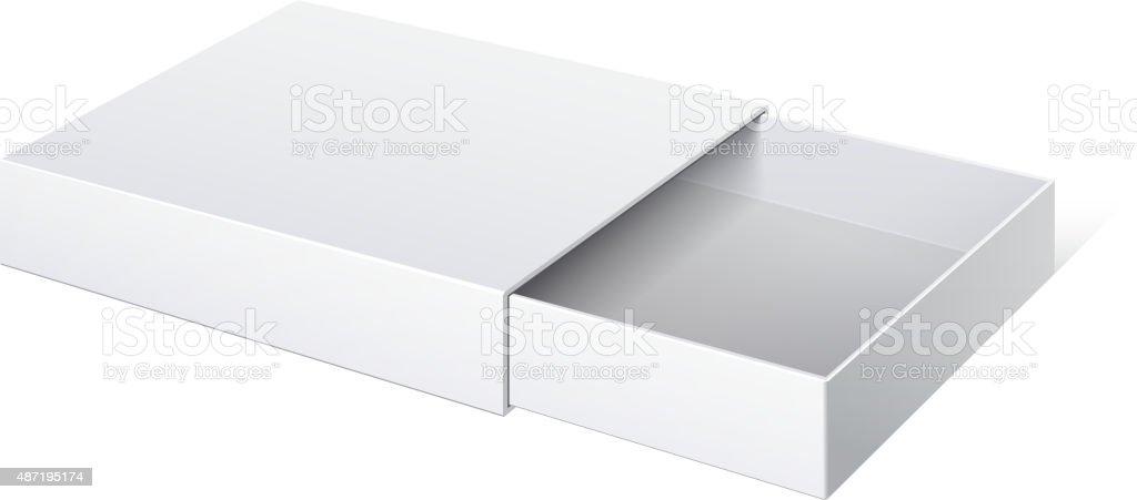 Package Cardboard Sliding Box Opened. vector art illustration