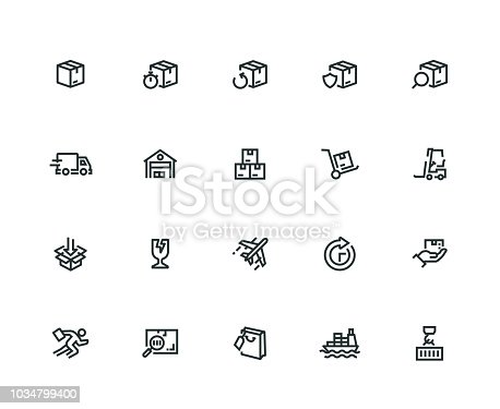 Package Delivery Icon Set - Thick Line Series