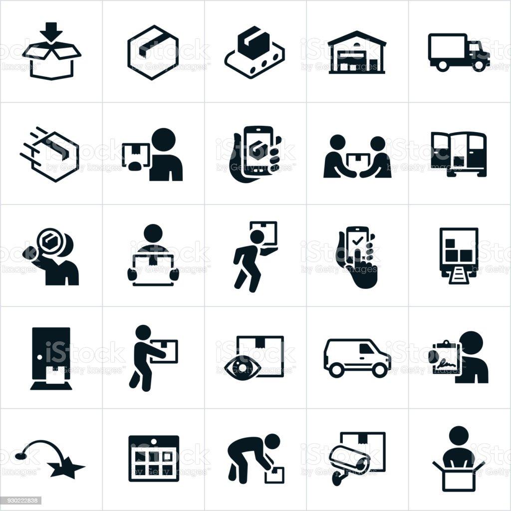 Package Delivery Icons - Grafika wektorowa royalty-free (Centrum dystrybucyjne)