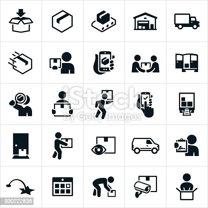 Icons related to the fulfillment, packaging and delivering of packages. The icons include the packaging process from filling the boxes to the distribution warehouse to the delivery person and finally to the customer.