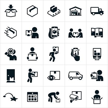 Package Delivery Icons - Stockowe grafiki wektorowe i więcej obrazów Centrum dystrybucyjne