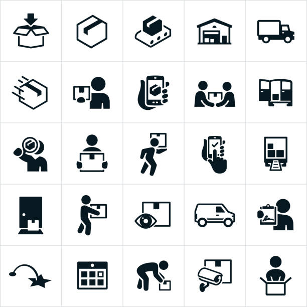 Package Delivery Icons Icons related to the fulfillment, packaging and delivering of packages. The icons include the packaging process from filling the boxes to the distribution warehouse to the delivery person and finally to the customer. for sale stock illustrations