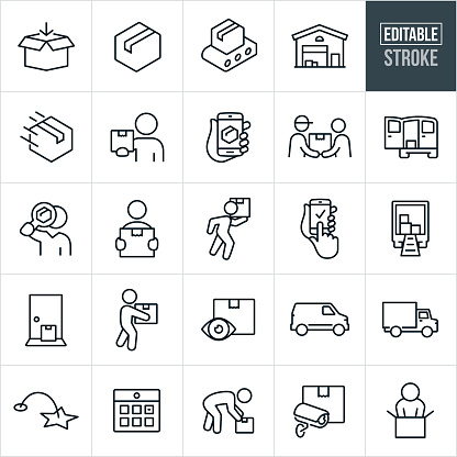 Package Delivery Thin Line Icons - Editable Stroke
