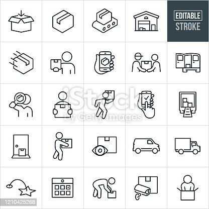A set of package delivery and shipping icons that include editable strokes or outlines using the EPS vector file. The icons include packages, cardboard boxes, conveyor belt, warehouse, distribution, distribution warehouse, package delivery, customer holding package, package being tracked on smartphone, deliveryman delivering package to customer, delivery van, person holding package, person carrying package, delivery truck, package on doorstep, calendar, surveillance, customer opening package and others.