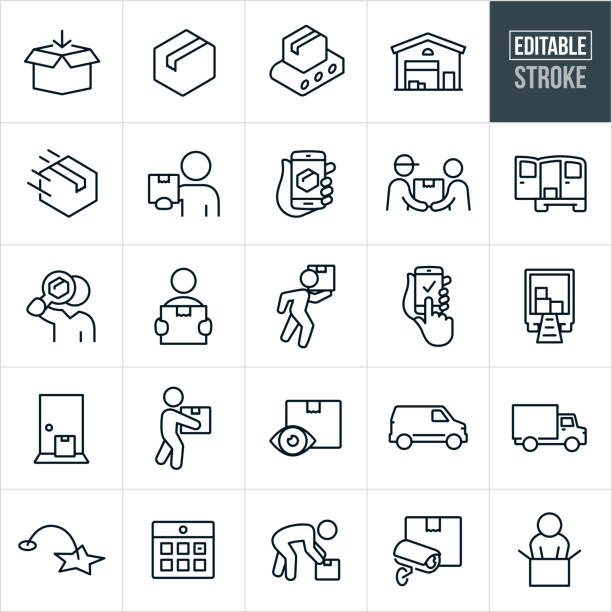 Package Delivery Thin Line Icons - Editable Stroke A set of package delivery and shipping icons that include editable strokes or outlines using the EPS vector file. The icons include packages, cardboard boxes, conveyor belt, warehouse, distribution, distribution warehouse, package delivery, customer holding package, package being tracked on smartphone, deliveryman delivering package to customer, delivery van, person holding package, person carrying package, delivery truck, package on doorstep, calendar, surveillance, customer opening package and others. package stock illustrations