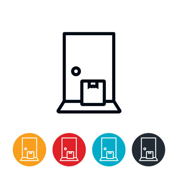 Package Delivery to Doorstep Icon An icon of a package sitting at the door. The icons have editable strokes/lines. front stoop stock illustrations