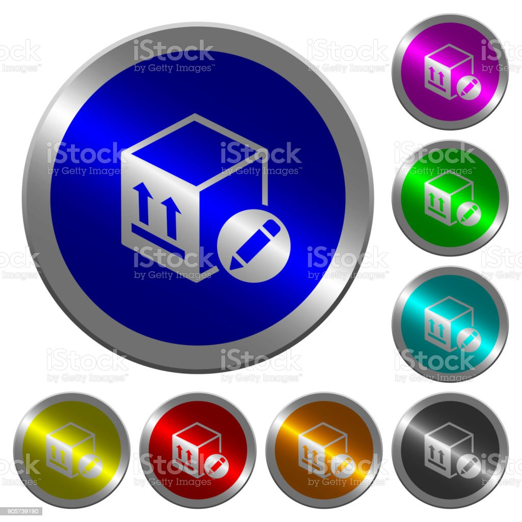 Package edit luminous coin-like round color buttons vector art illustration