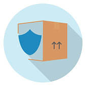 Logistics icon in thin line style with flat color. Easy to edit. — Package Insurance
