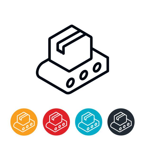 Package on Conveyor Belt Icon vector art illustration