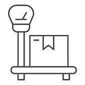 Package on scales thin line icon, delivery and logistic symbol, industrial cargo weight scale vector sign on white background, weighing delivery package icon in outline style. Vector graphics