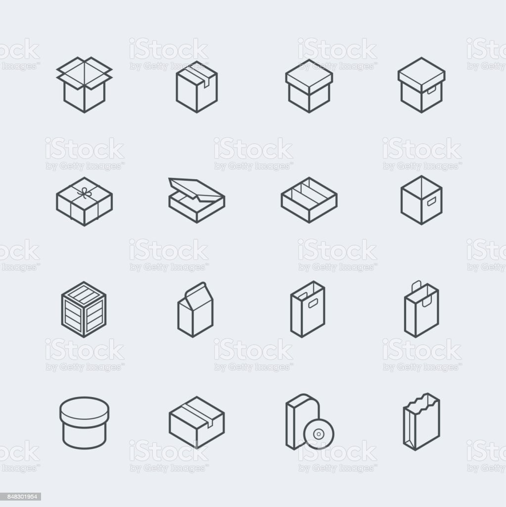 Package related vector icon set in thin line style vector art illustration