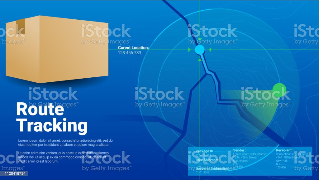 Package Route Delivery Position Tracking Concept Modern Blue Countur