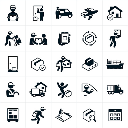 A set of package delivery icons. The icons include deliverymen, couriers, packages, delivering packages to homes, air freight, packages being delivered on a dolly, customers, tracking package delivery, package at doorstep of home, freight liner, delivery person behind the wheel, delivery truck, semi-truck a calendar and more.
