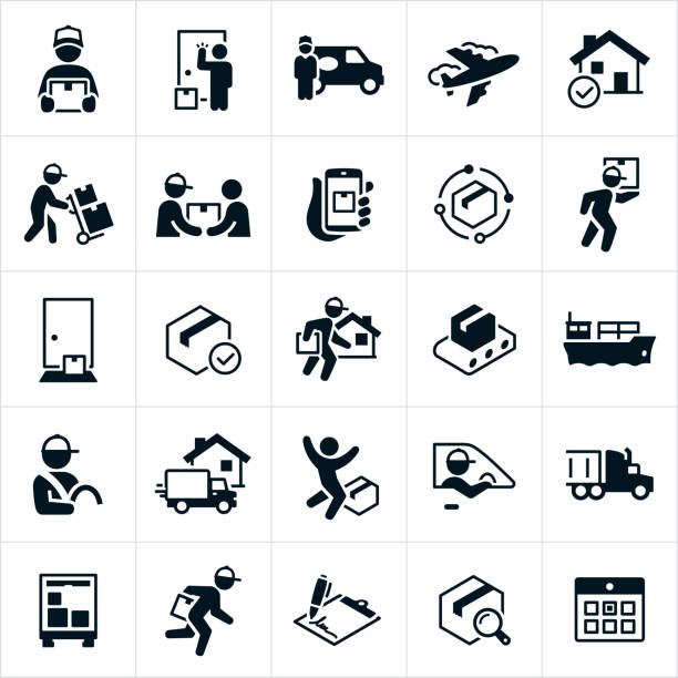 Package Shipping and Delivery Icons A set of package delivery icons. The icons include deliverymen, couriers, packages, delivering packages to homes, air freight, packages being delivered on a dolly, customers, tracking package delivery, package at doorstep of home, freight liner, delivery person behind the wheel, delivery truck, semi-truck a calendar and more. carrying stock illustrations