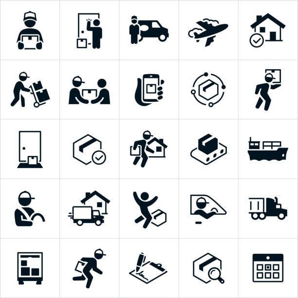 illustrazioni stock, clip art, cartoni animati e icone di tendenza di package shipping and delivery icons - portare
