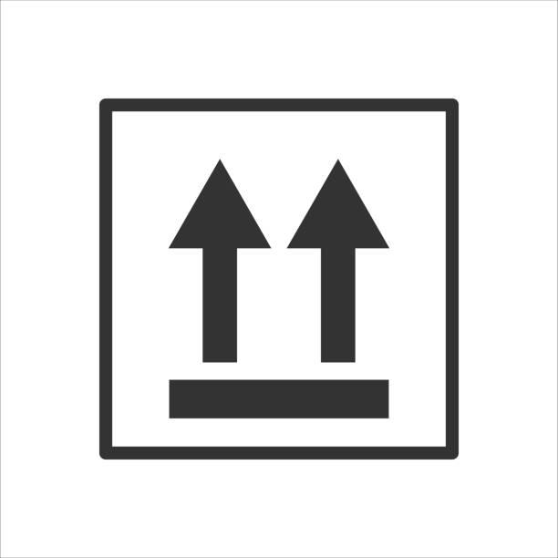 stockillustraties, clipart, cartoons en iconen met pakket ondertekenen deze kant naar boven - breekbaarheid