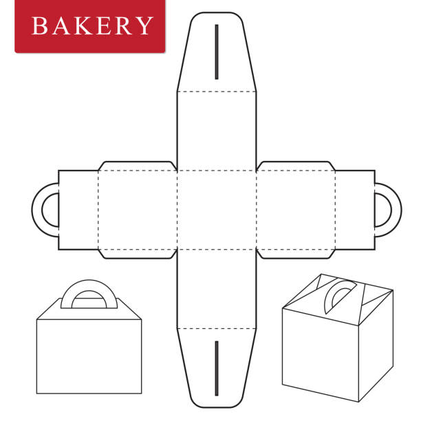 Best Cake Box Template Drawing Illustrations Royalty Free
