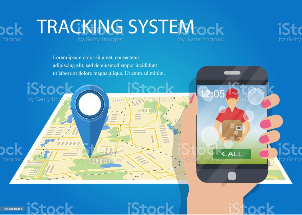 Hand holding mobile smart phone with app delivery tracking. Vector....