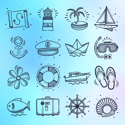 Package Vacation & Sightseeing Tours Doodle Style Vector Icon Set