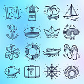 Package vacation and sightseeing tours doodle style outline symbols on holographic gradient background. Vector icons set for infographics, mobile or web page designs.