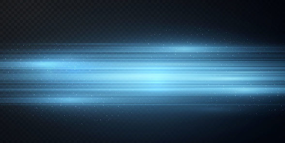 Package with blue horizontal highlights. Laser neon beams, horizontal light blue beams. Beautiful flashes of light. Glowing stripes on a dark background. Blue or neon stars with flares in open space