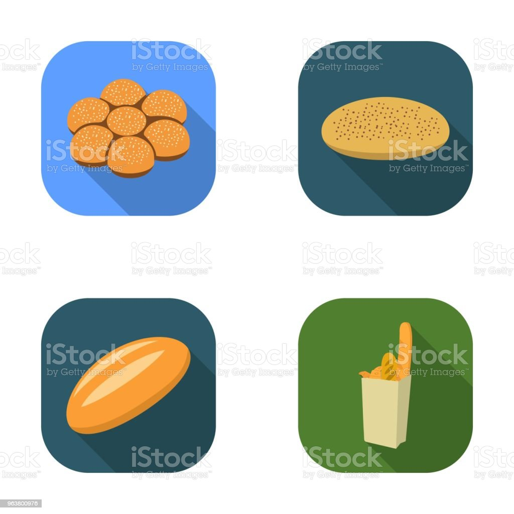 A package with bread, a pizza batch, a loaf, a bun.Bread set collection icons in flat style vector symbol stock illustration web. vector art illustration