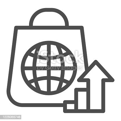 istock Package with globe and upward arrow line icon. Consumer demand growth symbol, outline style pictogram on white background. Shopping bag with globe sign for mobile concept and web design. 1225055746