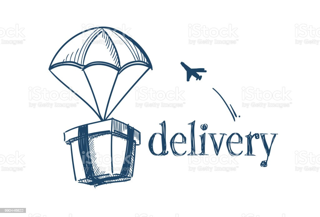 Package With Parachute Fast Delivery Service Concept Free