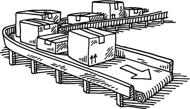 Packages Conveyor Belt Drawing Hand-drawn vector drawing of a Conveyor Belt with Packages. Black-and-White sketch on a transparent background (.eps-file). Included files are EPS (v10) and Hi-Res JPG. business stock illustrations