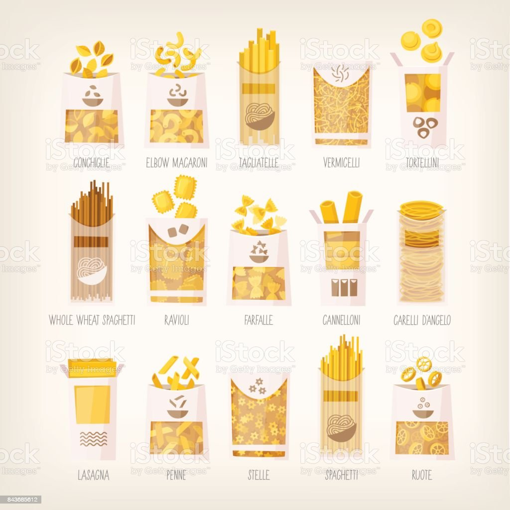 Packages of dry pasta vector art illustration