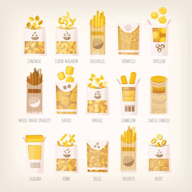 illustrazioni stock, clip art, cartoni animati e icone di tendenza di packages of dry pasta - pasta