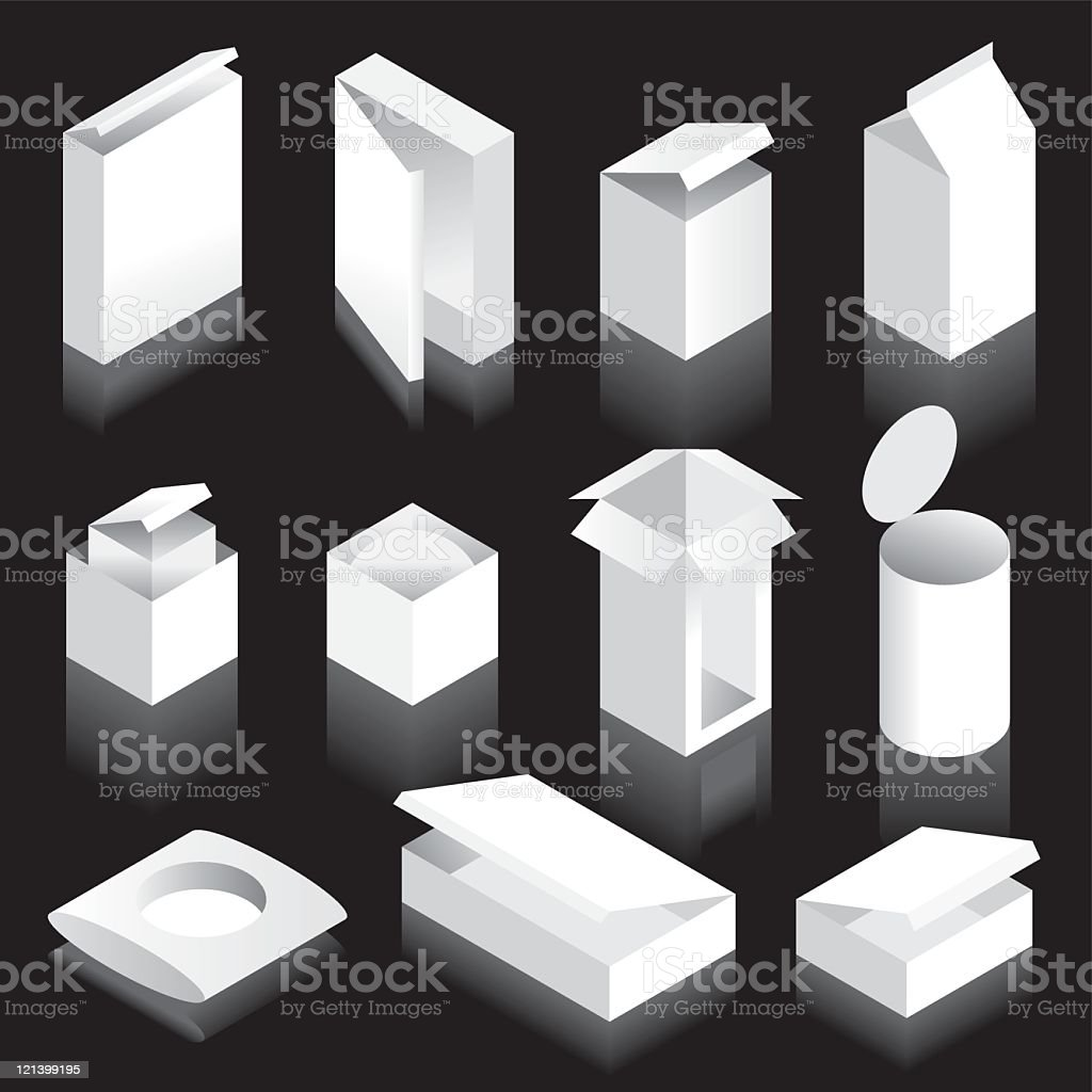 Packaging blanks with lids royalty-free stock vector art