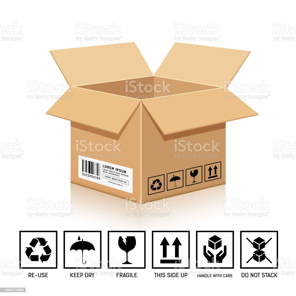 Packaging Box brown color, with symbol isolated on white background,...