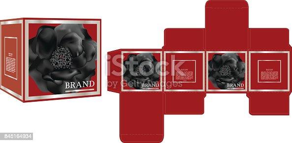 packaging design black rose on red background box design
