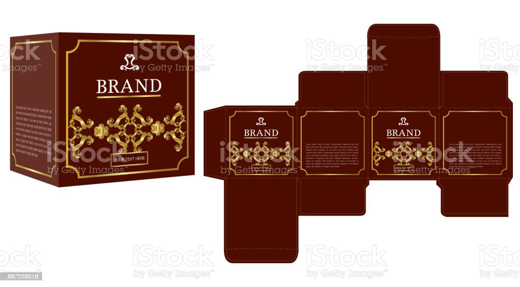 packaging design gold luxury box design template and mockup box