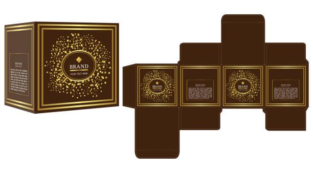 design, gold luxus-box design vorlage und mock-up verpackung. - stanzen stock-grafiken, -clipart, -cartoons und -symbole