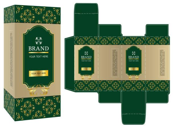 design, grün und gold luxus-box design vorlage und mock-up verpackung. - stanzen stock-grafiken, -clipart, -cartoons und -symbole