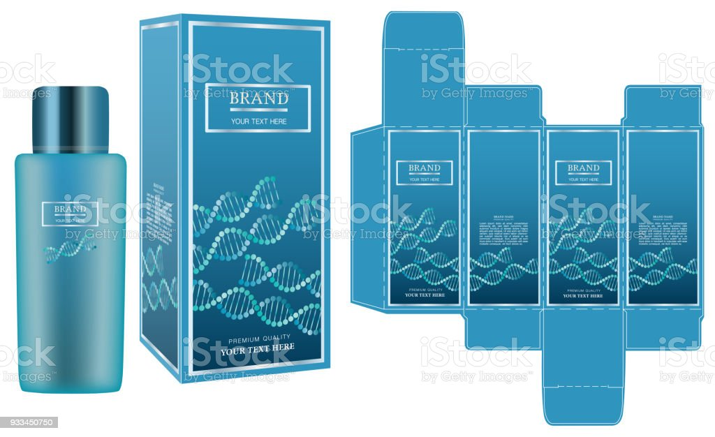 Packaging design, label on blue cosmetic container with luxury box design template and mockup box. Illustration vector. vector art illustration