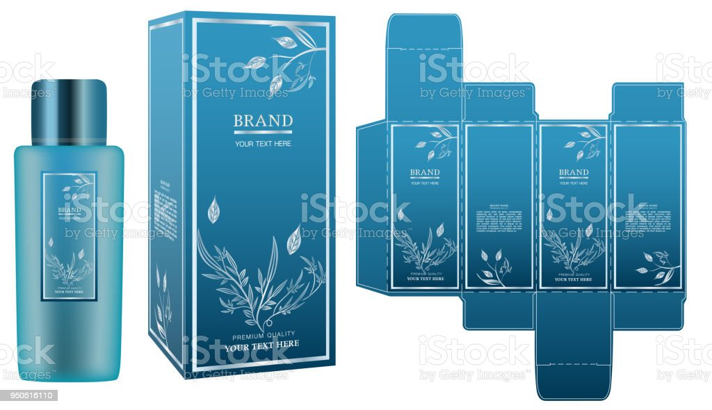 packaging design label on blue cosmetic container with luxury box