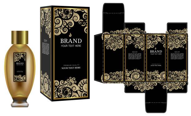 verpackungsdesign, etikett auf kosmetik-container mit schwarz und gold luxus-box-template und mock-up-box. abbildung vektor. - stanzen stock-grafiken, -clipart, -cartoons und -symbole