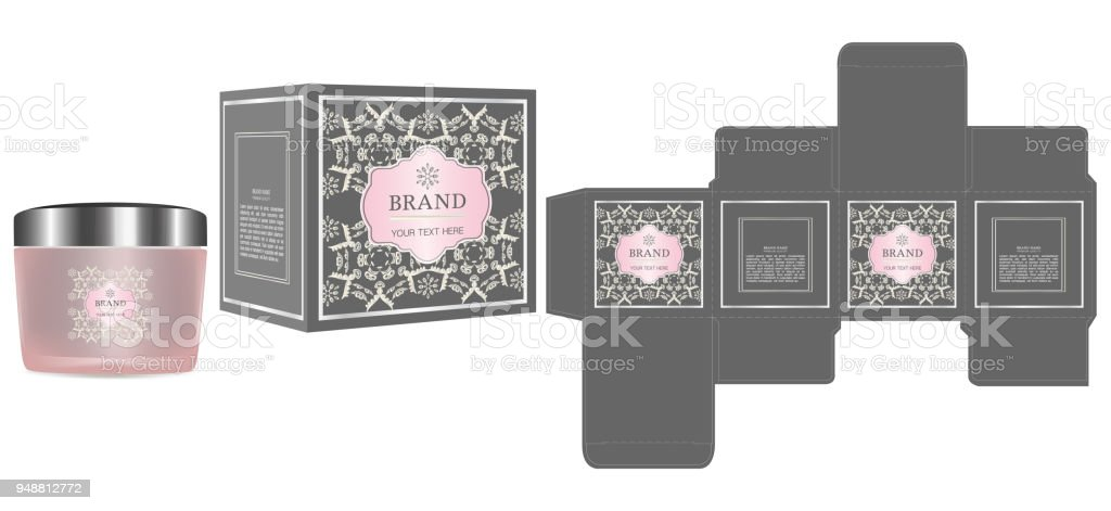 packaging design label on cosmetic container with luxury box