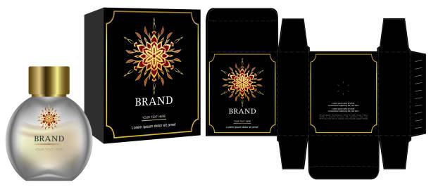 verpackungsdesign, etikett auf kosmetik-container mit luxus-box-template und mock-up-box. abbildung vektor. - stanzen stock-grafiken, -clipart, -cartoons und -symbole
