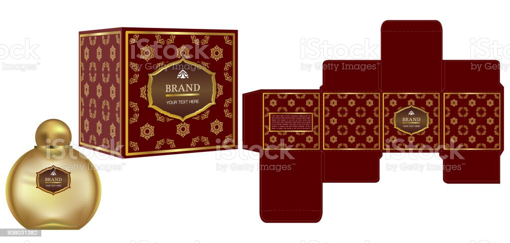 packaging design label on cosmetic container with red and gold