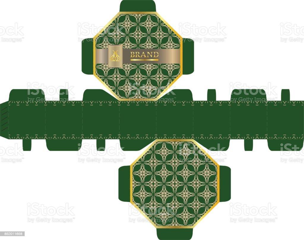 packaging design luxury 8sided box design template stock vector art