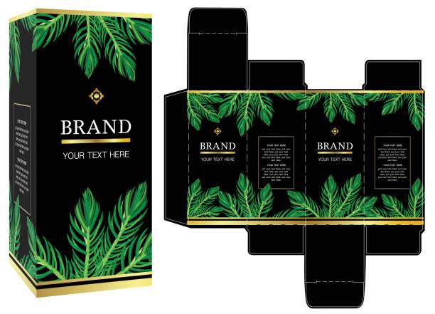 verpackungs-design, luxus box design-vorlage und mock-up-box. - stanzen stock-grafiken, -clipart, -cartoons und -symbole