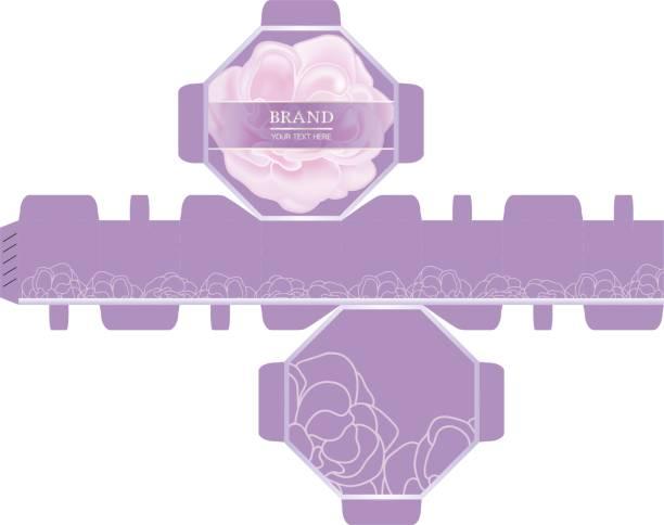 verpackung design, rosa rose, luxus-8-seiten-box-design-vorlage. - stanzen stock-grafiken, -clipart, -cartoons und -symbole